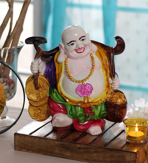 Multicolour Polyresin Sleeping Buddha Religious Idol Statue