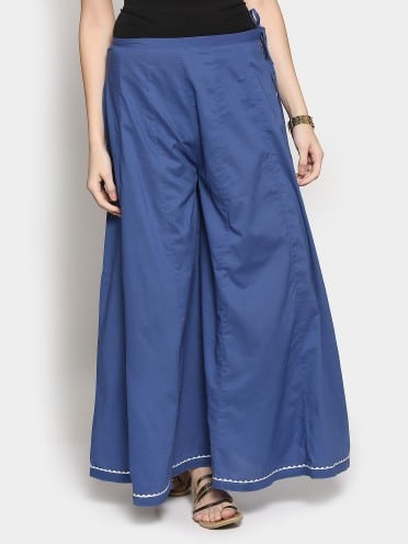 Fabindia women navy regular fit palazzo pants
