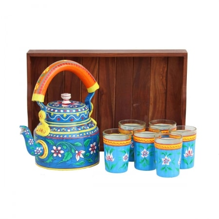 eCraftIndia Handpainted Decorative Tea Serve Set