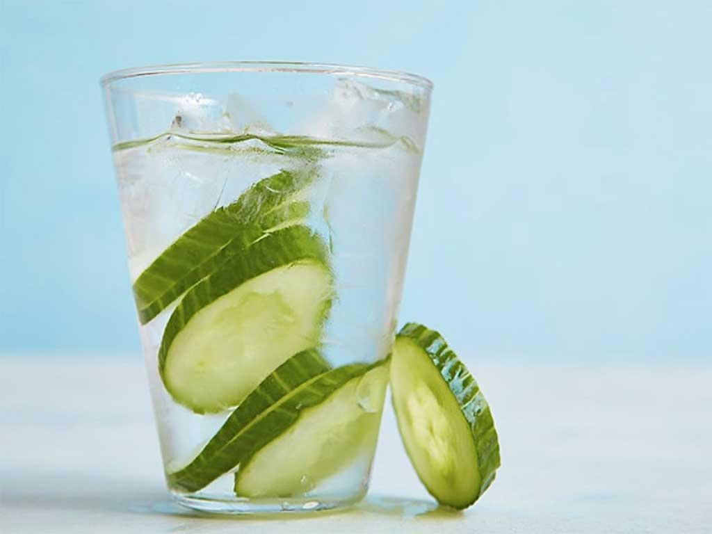 Water with cucumbers inside