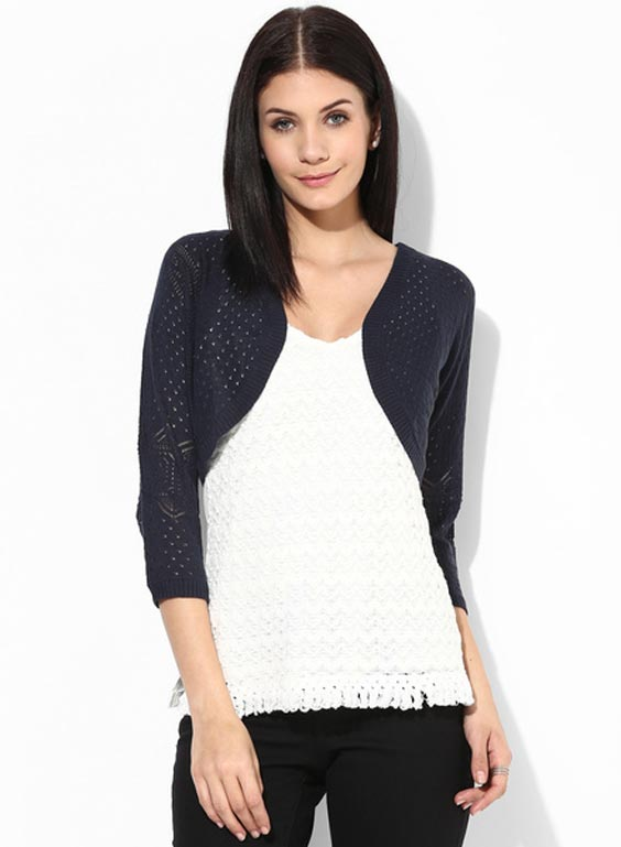 Navy blue solid shrug
