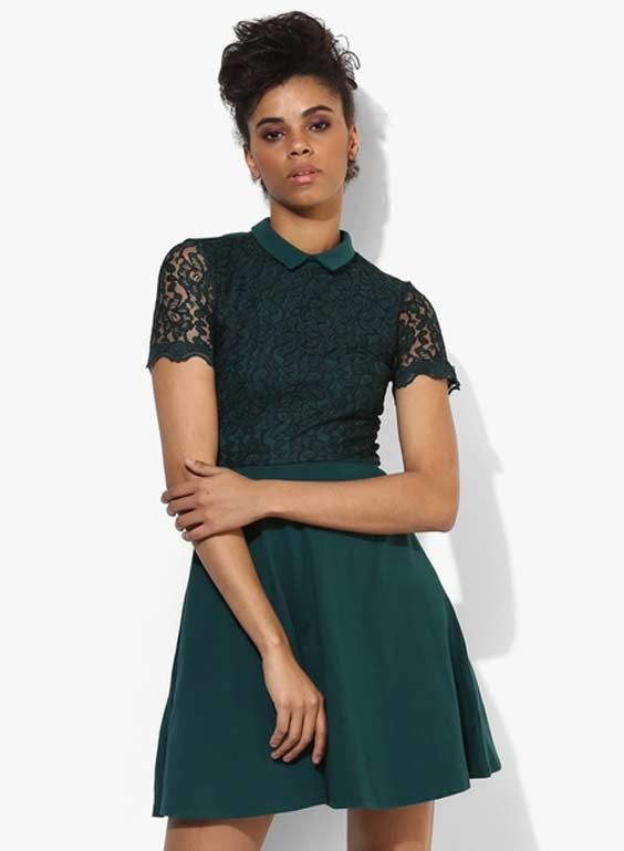 Dorothy Perkins Green Lace Collar Skater Dress