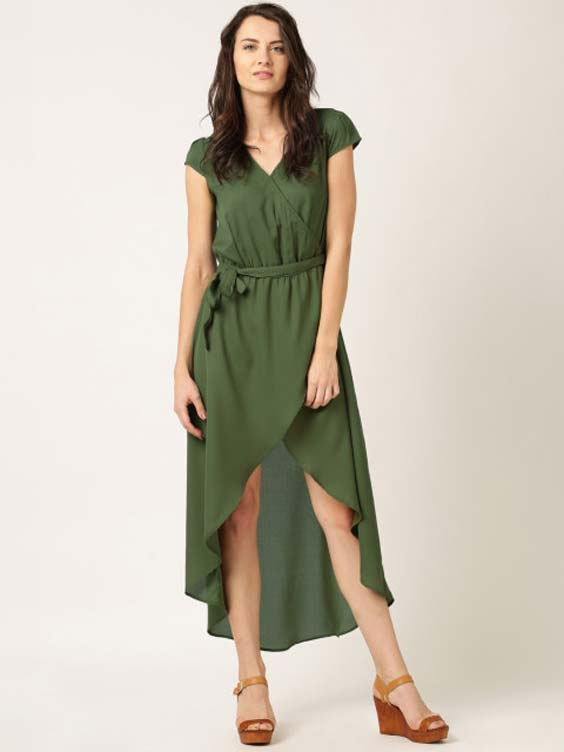 DressBerry Olive Green Georgette Maxi Dress