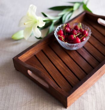ExclusiveLane Wooden Tray In Brown