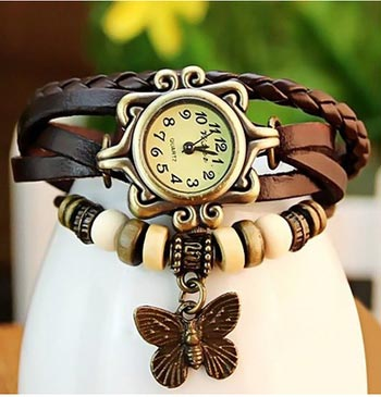 Fashion11 Trendy Ladies leather watch Brown