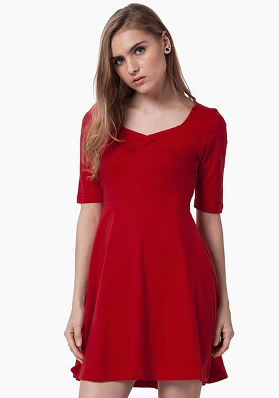 MINI SKATER DRESS - RED