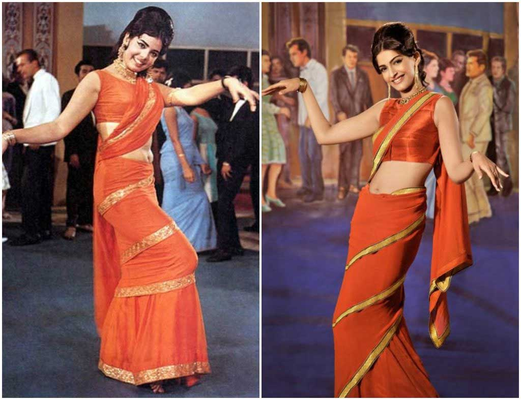 Saree wearing styles for parties: Coiled Saree, a la Mumtaz
