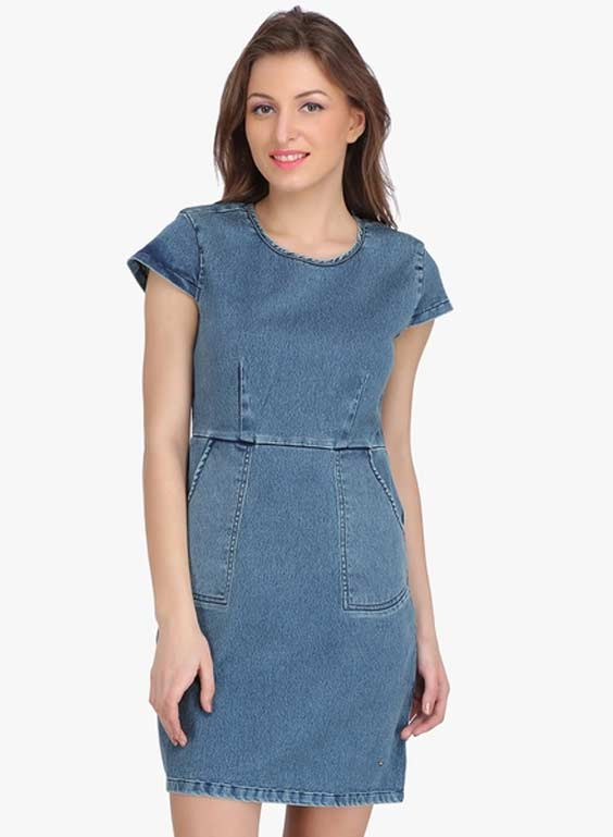 Ozel-Blue-Colored-Solid-Shift-Dress