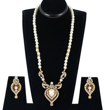 Spargz Designer Gold Alloy American Diamond Pearl String Necklace Set For Women AINS 111