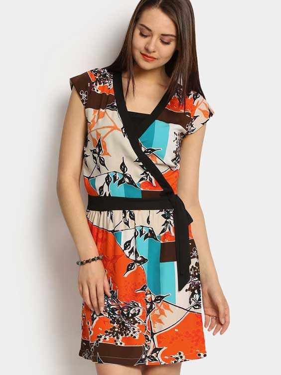Women Orange Printed A-line Dress