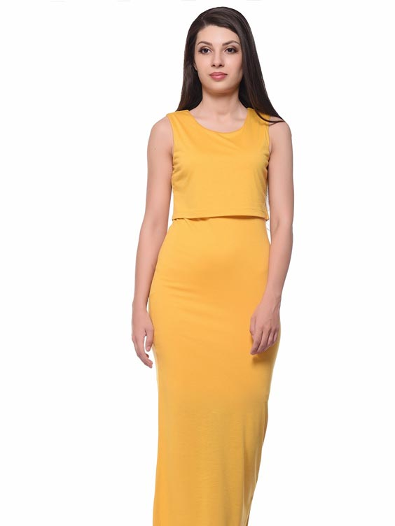 YELLOW OVERLAY MAXI DRESS