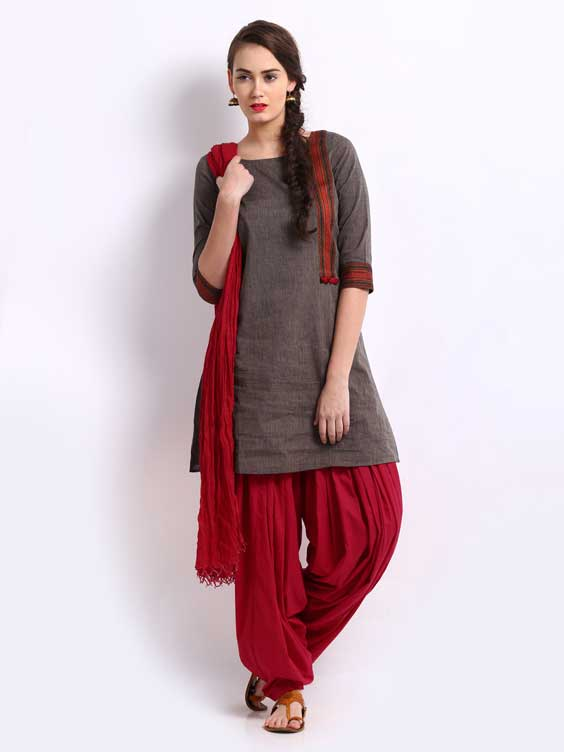 maroon patiala and dupatta