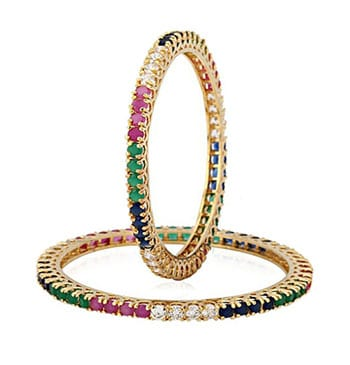 YouBella Multicolor American Diamond Bangles featured