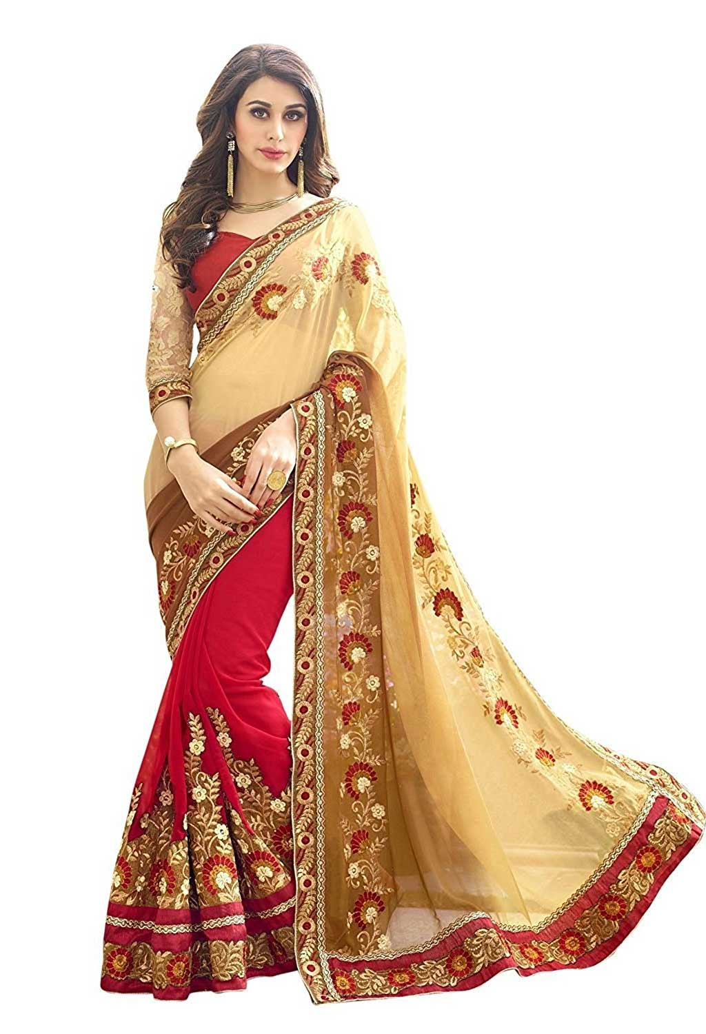 Panchratna Women's Embroidered Biege And Red Half And Half Georgette Saree With Blouse Material
