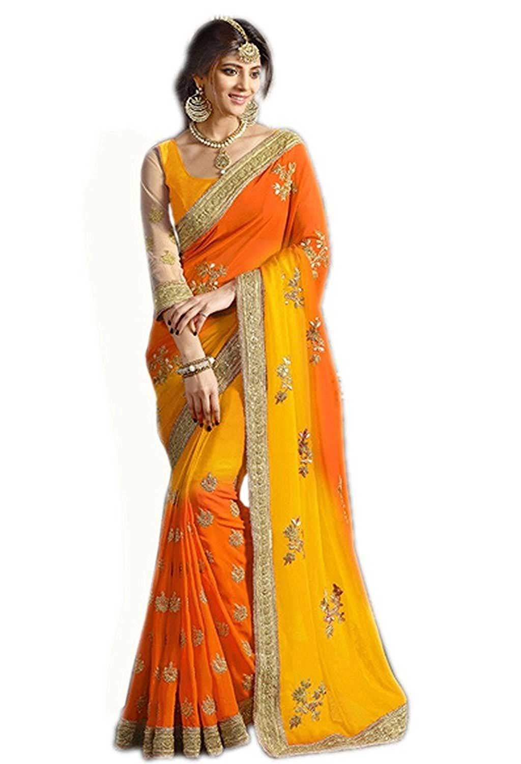 Panchratna Women's Embroidered Red-Coding Georgette Saree With Blouse Material