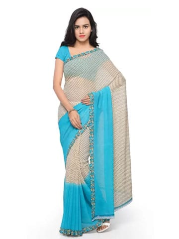 Anand Sarees Printed Daily Wear Georgette Saree (Blue)