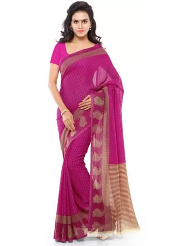 Anand Sarees Printed Daily Wear Georgette Saree  (Pink)