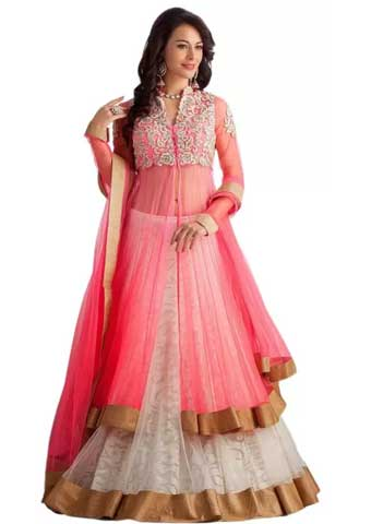 Chamunda Enterprise Embroidered Lehenga, Choli and Dupatta Set