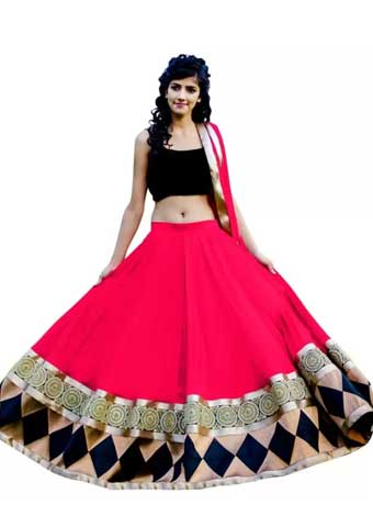 Dharmaproducts Embroidered Lehenga, Choli and Dupatta Set (Pink)