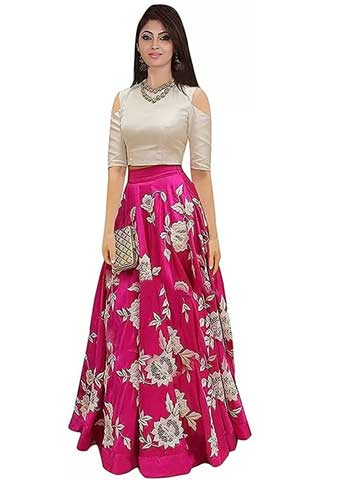 IMPRESSION Fab Embroidered Semi Stitched Lehenga Choli