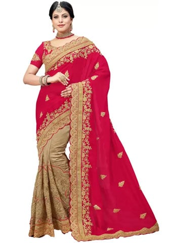 M.S.Retail Embroidered Bollywood Crepe Saree