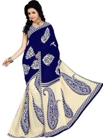 Vimalnath Synthetics Floral Print Fashion Georgette Saree (Blue)