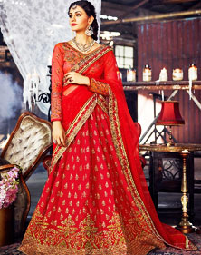 Red Silk Semi-Stitched Flared Lehenga