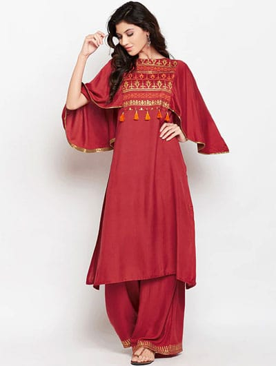 Golden Block Ethnic Kurta Palazzo Set