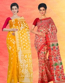 Jamdani Handloom Cotton, Silk Saree