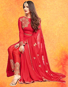 Georgette Wedding Special Semi-stitched Salwar Suit red color