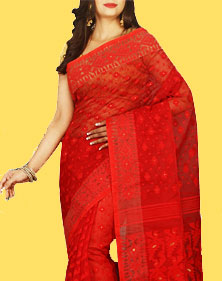 Red Jamdani Saree