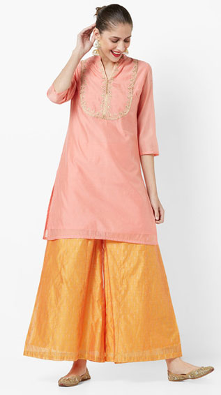 Embroidered Straight Kurta & Printed Palazzos Set