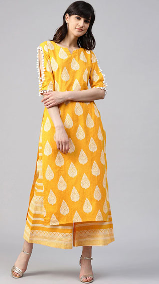 Yellow Cotton Kurta Palazzo Set