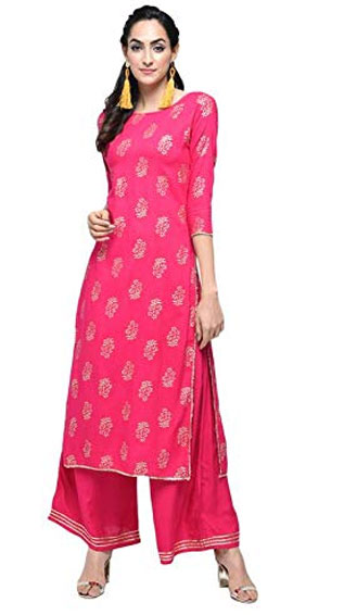 Gold Print Gota Lace Work Pink Straight Kurta Palazzo Set