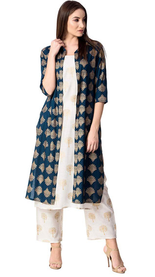 Cotton Printed Jacket Kurta With Palazzo Pant Set