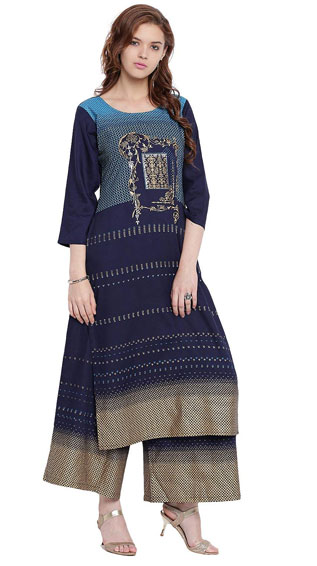 BLUE STRAIGHT FESTIVE KURTA WITH PRINTED RAYON PALAZZO