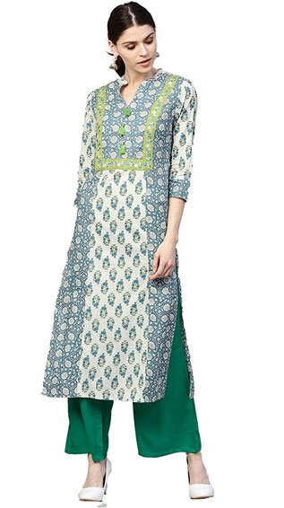 Blue & Green Ethnic Motifs Straight Cotton Kurta With Palazzo