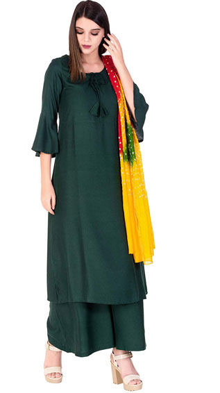 Rayon Kurta And Palazzo With Printed Dupatta set