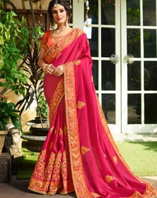 Zari Embroidered Saree With Blouse