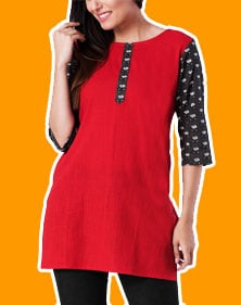 Red Cotton Straight Kurti