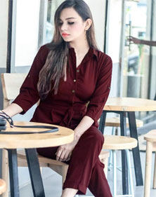 Wine Coloured Jumpsuit