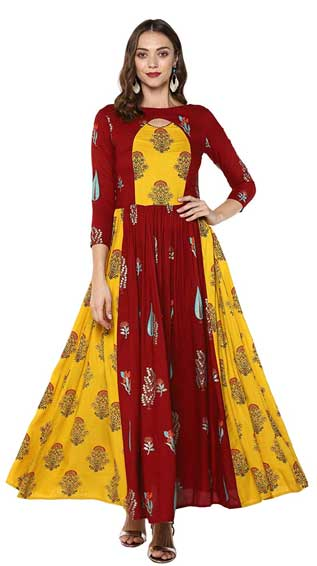 Maroon Colored Rayon Printed Anarkali