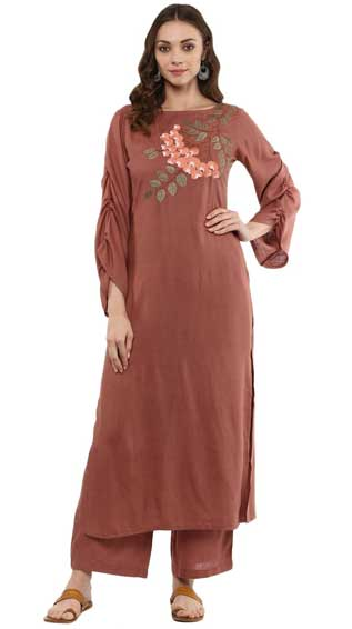 Rayon Rose Gold Embroided Kurta & Palazzo Pants