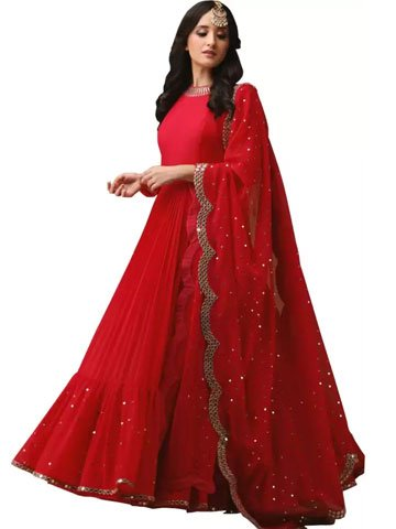 Red Lehenga with Blouse & Dupatta