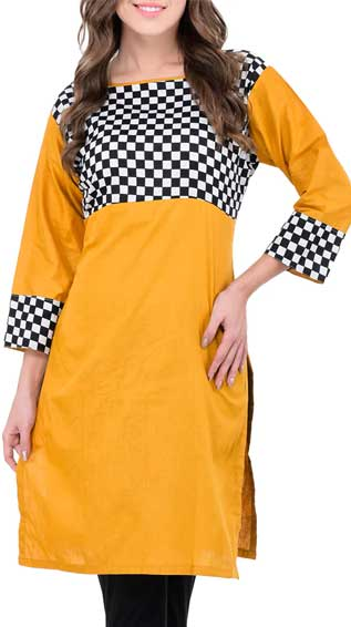 Yellow Cotton Regular Kurta