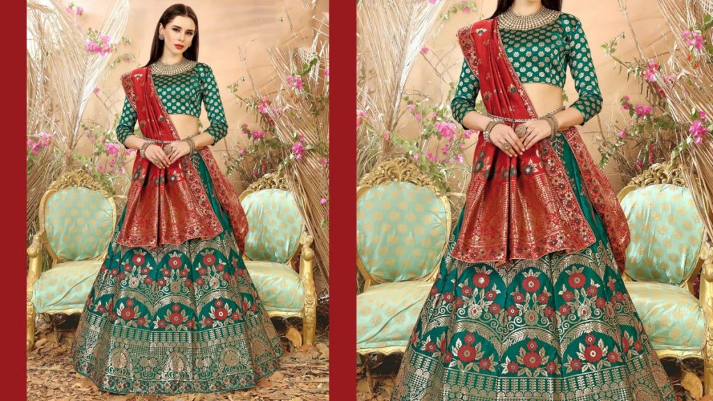 Banarasi Flared Lehenga With Green Full Sleeve Blouse And  Dupatta
