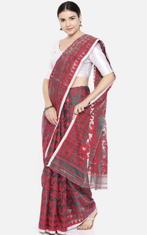Charcoal & Red Silk Cotton Jamdani Saree
