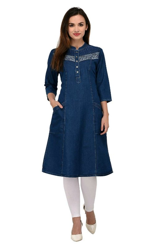 Denim Kurti With Pockets