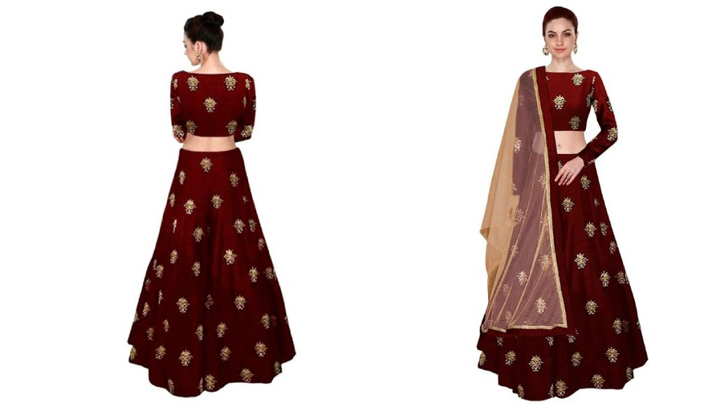 Embroidered Taffeta Silk Semi-Stitched Lehenga Choli