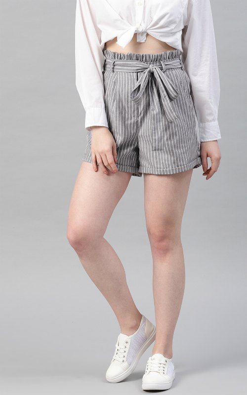 Grey Striped Regular Fit Shorts